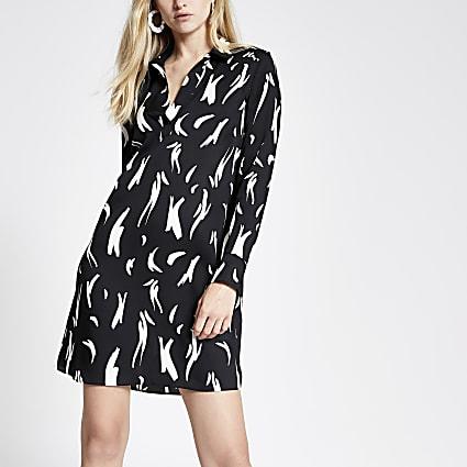 Black print shirt dress