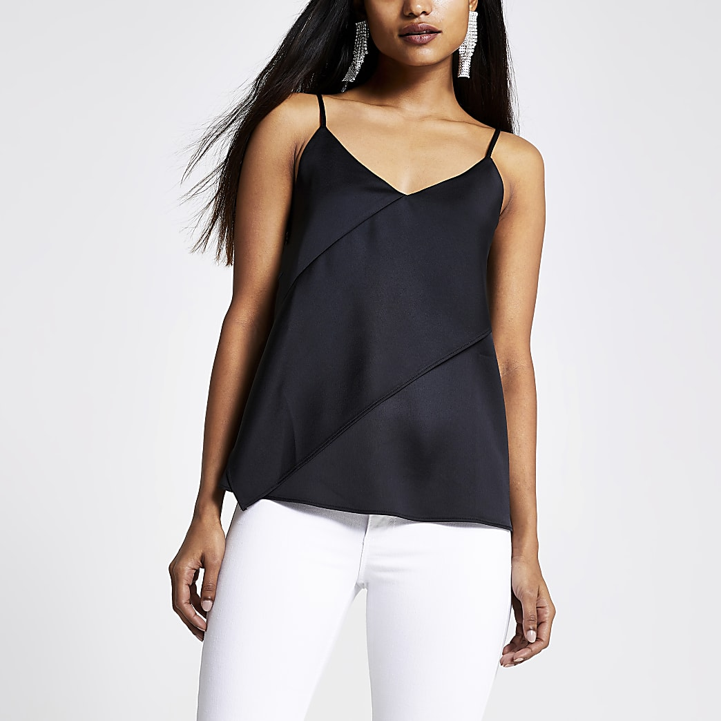 Petite black asymmetric cami top
