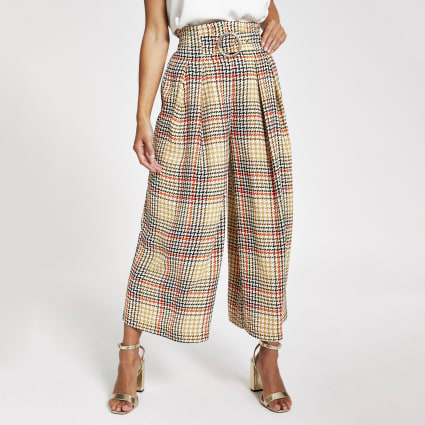 Petite brown check cropped trousers