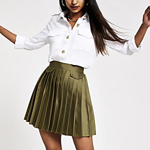 Petite khaki pleated mini skirt