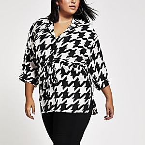 Plus – Chemise à carreaux noire motif pied-de-poule