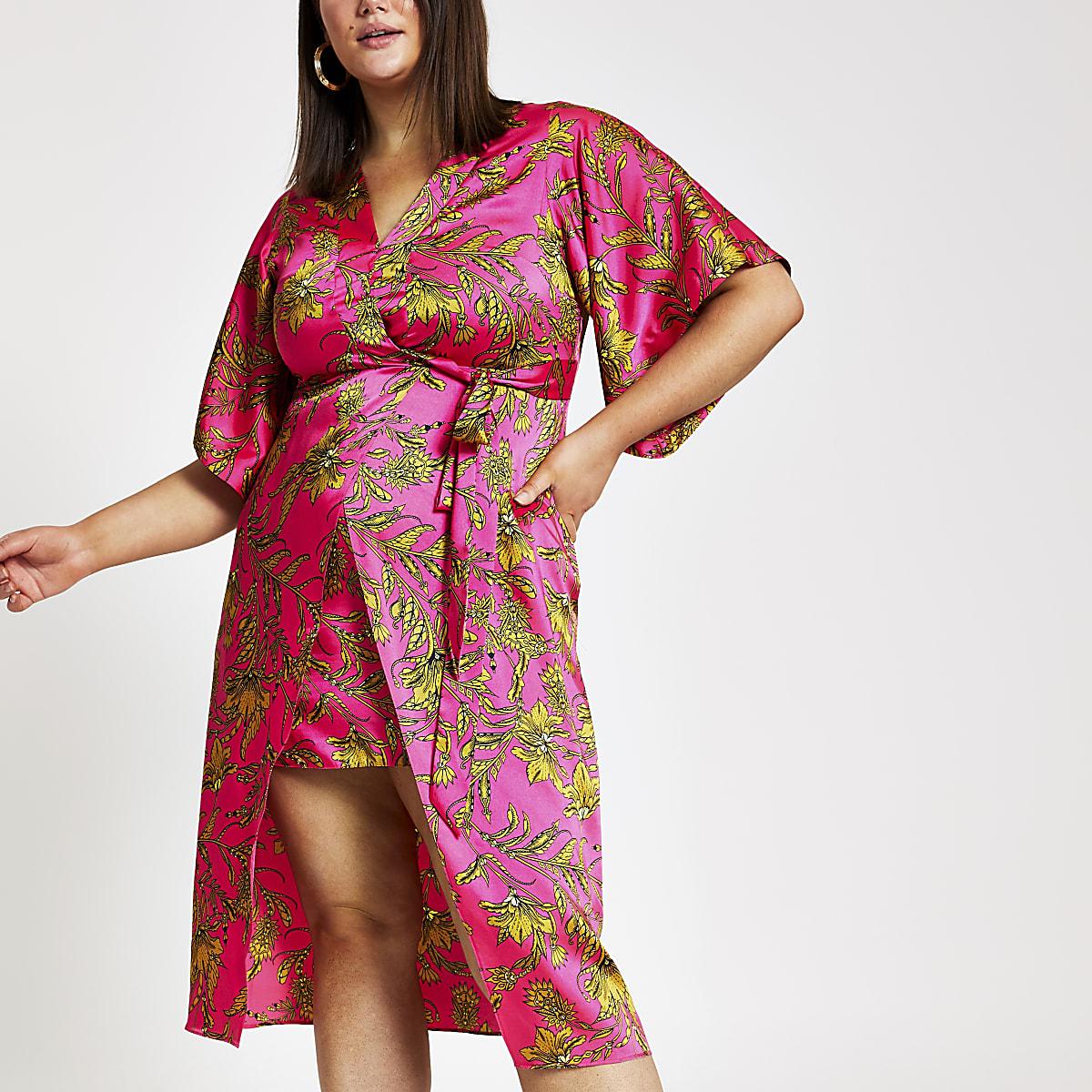 Plus pink floral print midi kimono dress