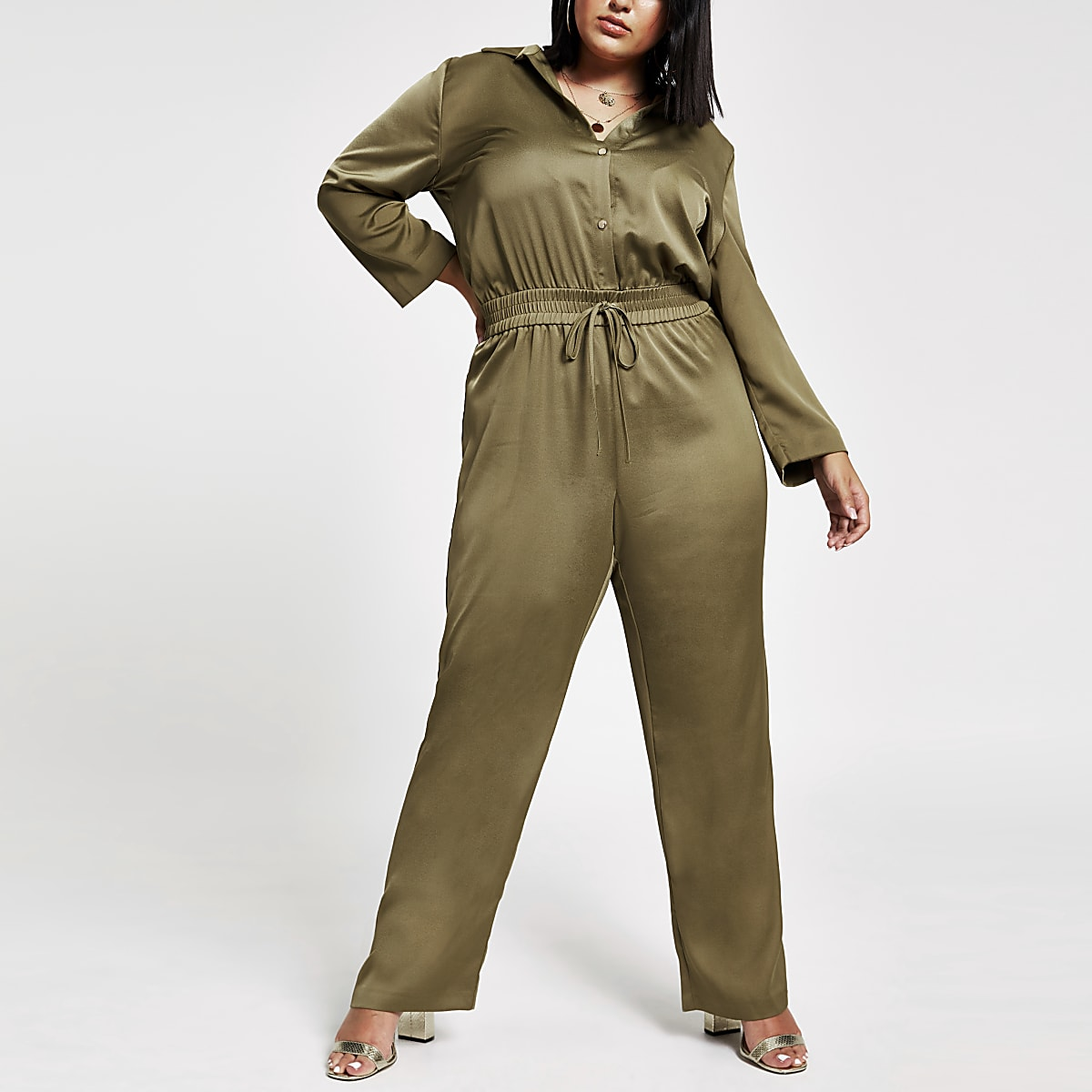 Plus khaki elasticated waist utility jumpsuit