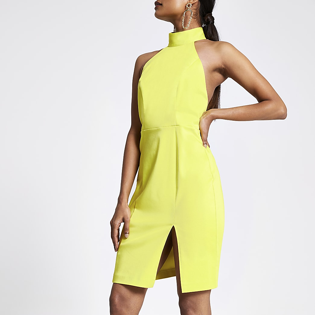 Petite lime cut out back bodycon dress
