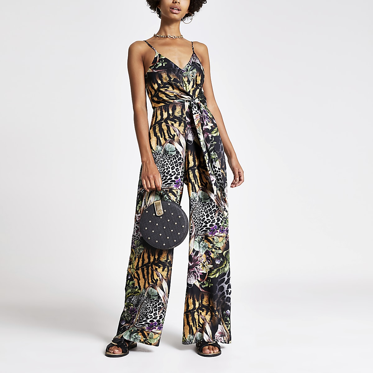 Black mixed print knot front jumpsuit