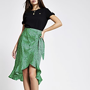 Green spot frill midi skirt