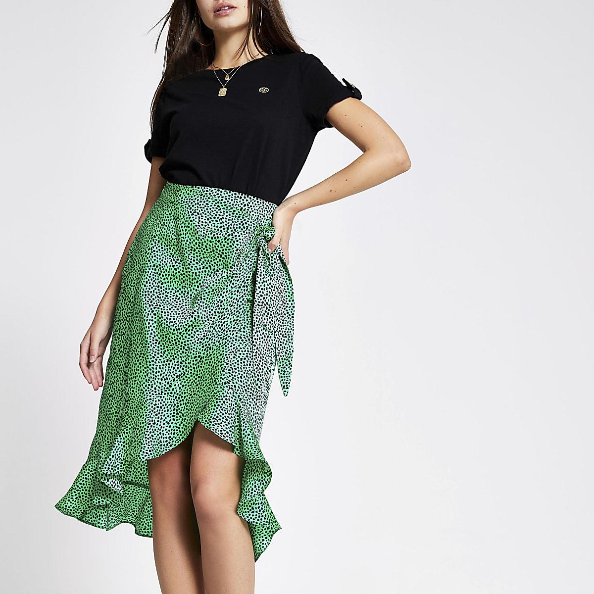 Green spot frill midi skirt