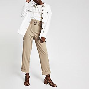 Pantalon cargo beige à ceinture