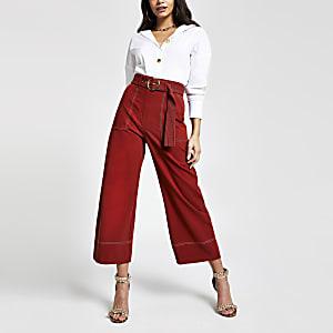 Rust wide leg trousers