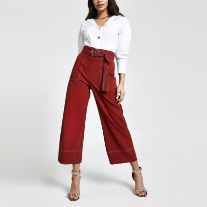 Rust wide leg trousers