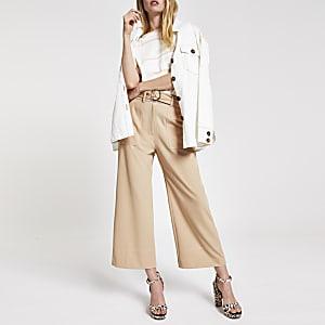 Beige straight wide leg trousers
