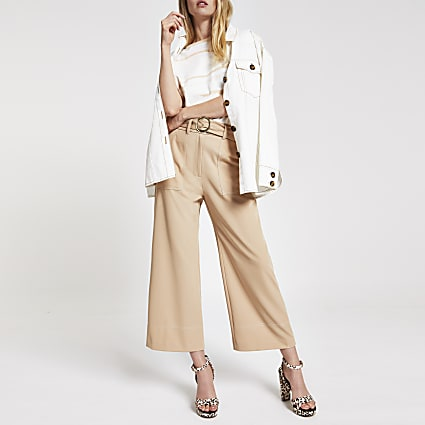 Beige straight wide leg trousers