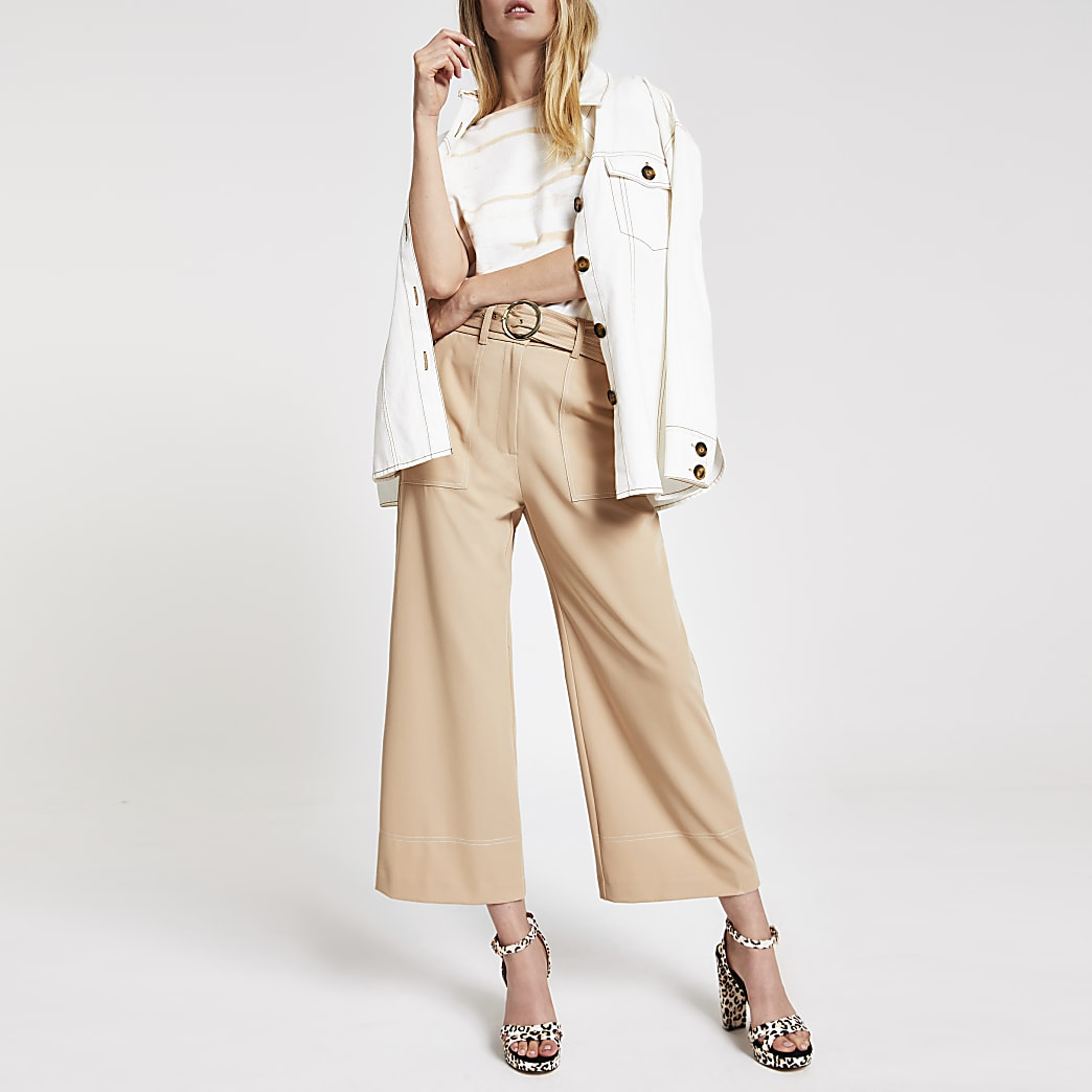 Pantalon droit large beige
