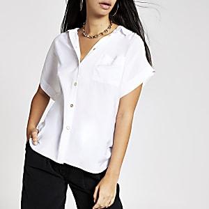 Wit overhemd met korte mouwen