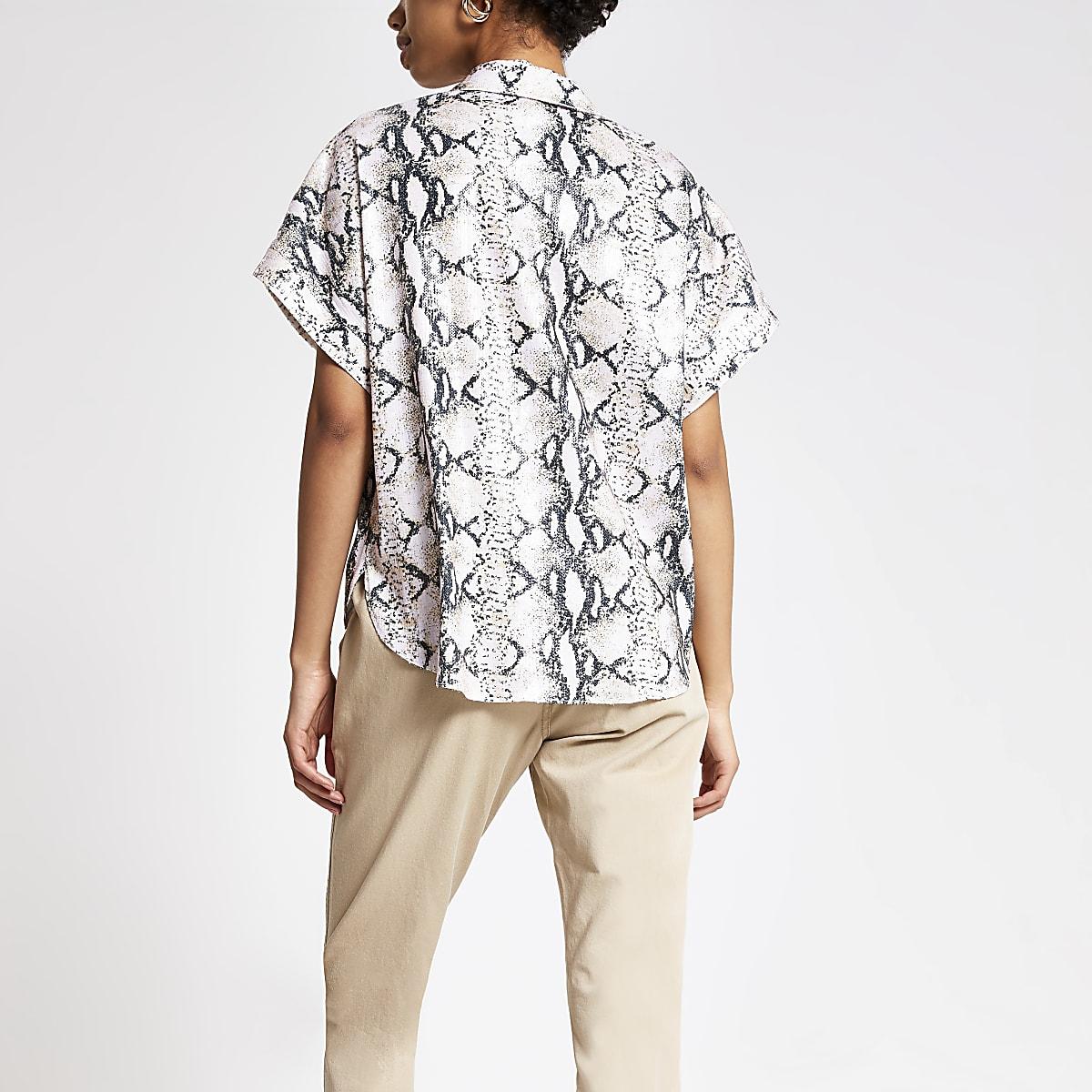 6bd56625 Pink snake print sequin short sleeve shirt - Shirts - Tops - women