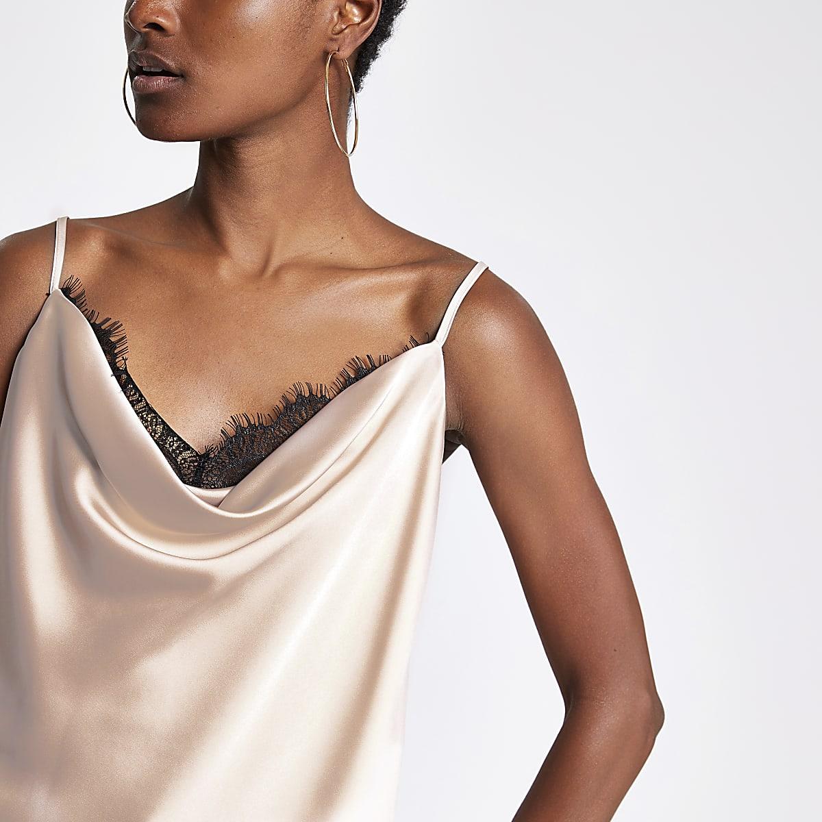 Light grey lace trim cami top