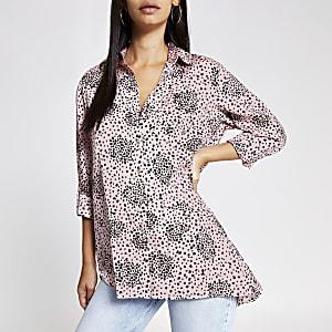 Pink heart print shirt