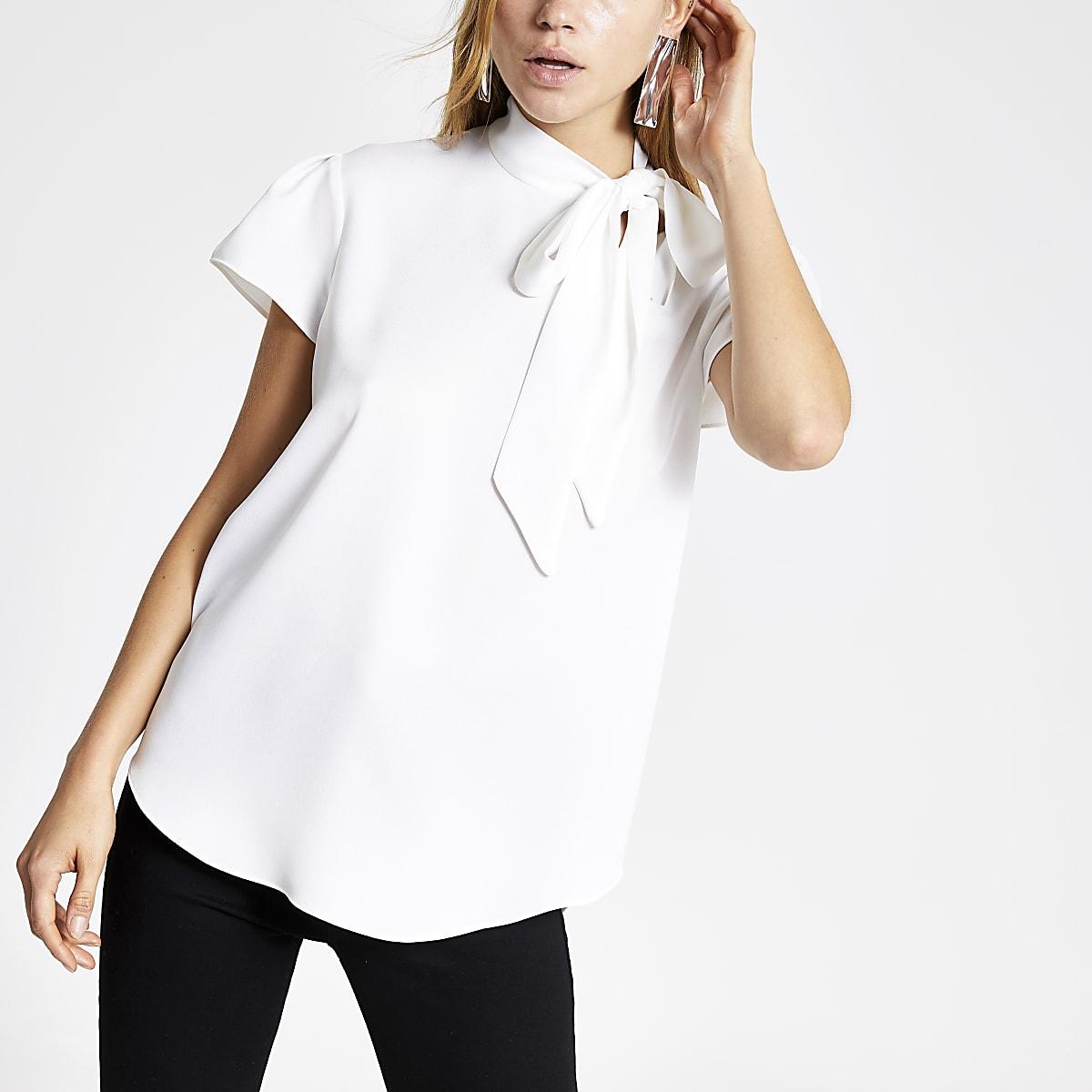 White tie neck short sleeve blouse