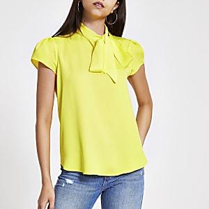 Yellow tie neck short sleeve blouse