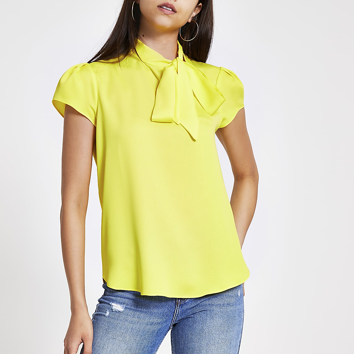 Yellow tie neck short sleeve blouse