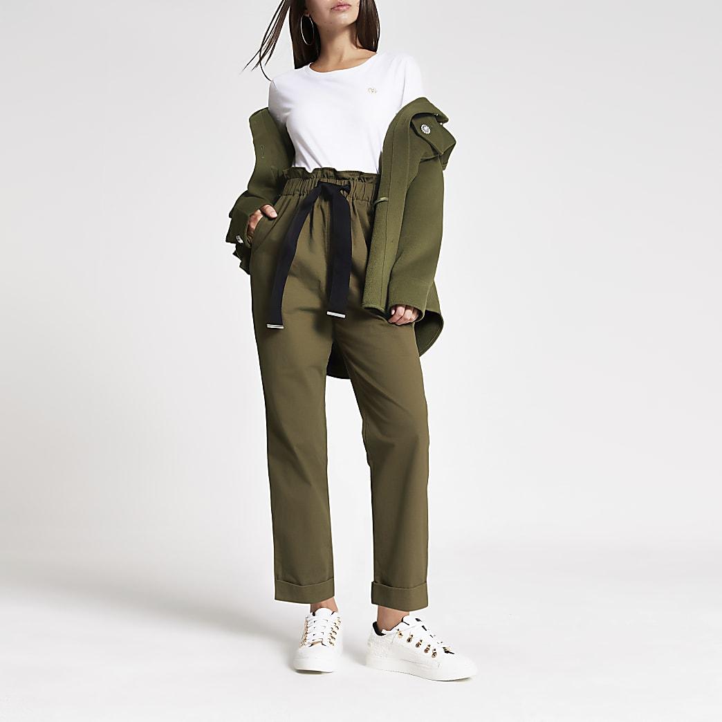 Kaki utility broek met strik rond de tailler