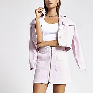 Light pink zip front mini denim skirt