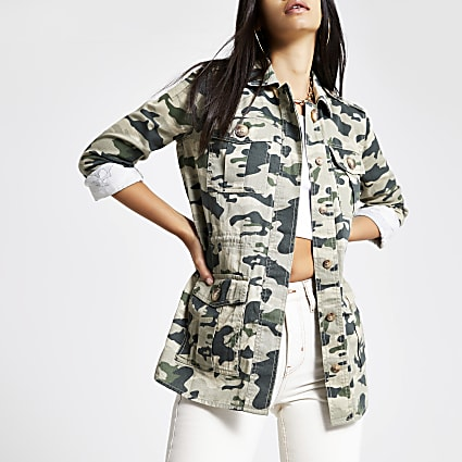 Khaki camo print shacket