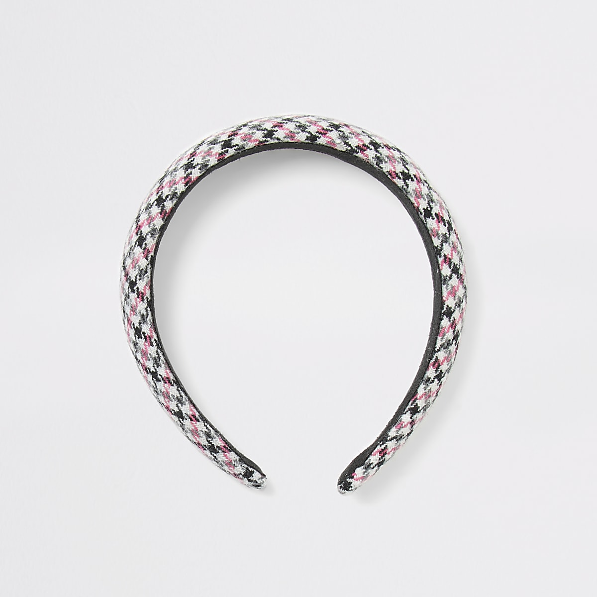 Pink dogtooth check padded headband