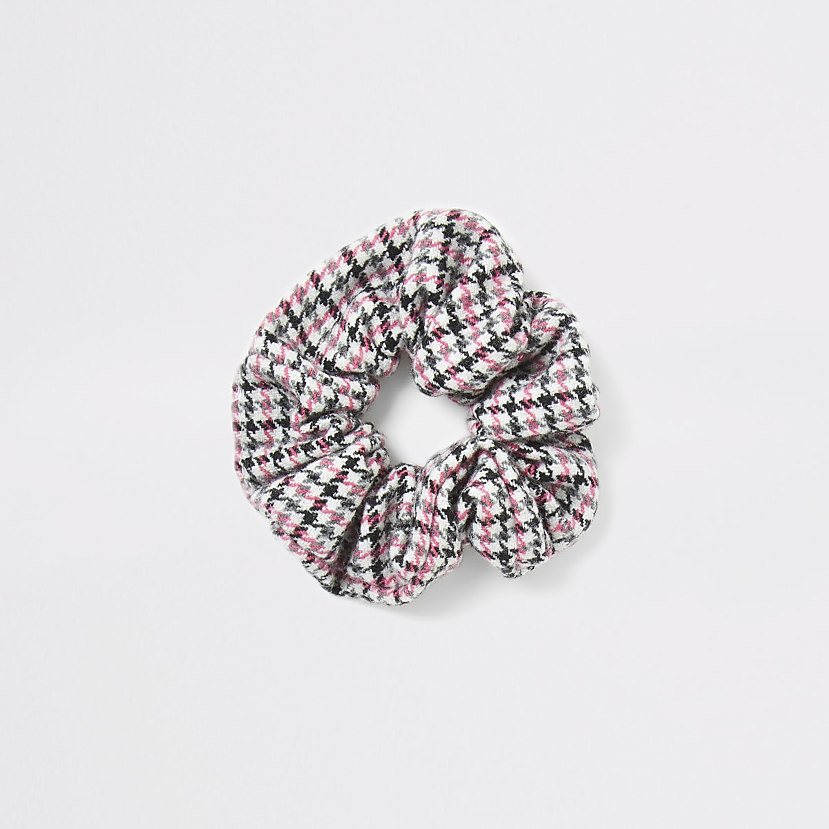 Pink dogtooth check scrunchie