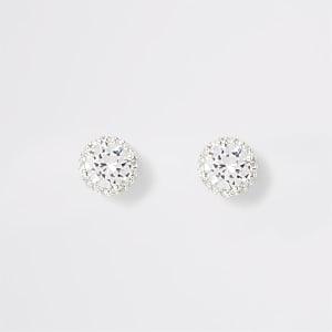 Witte diamanté oorknopjes
