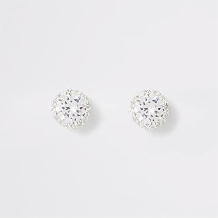 White bright diamante stud earrings
