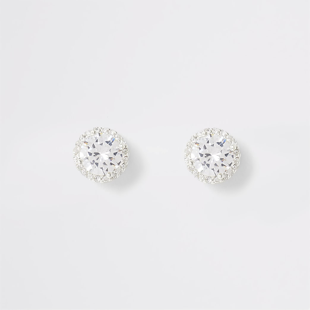 Silver colour diamante stud earrings
