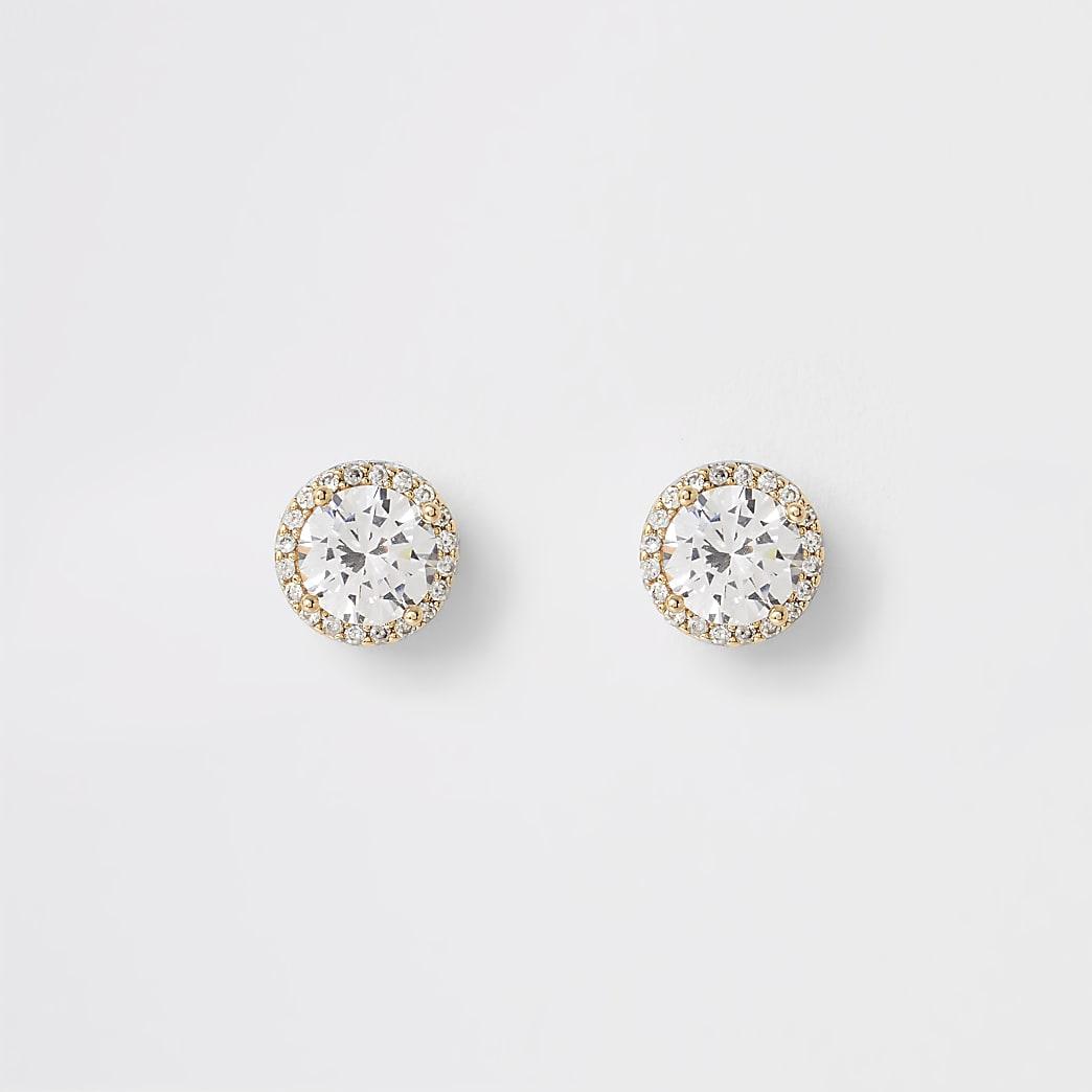 Gold colour diamante stud earrings