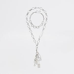 Silberfarbene Halskette