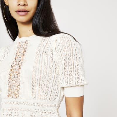 Cream Lace Peplum Knitted Top by River Island