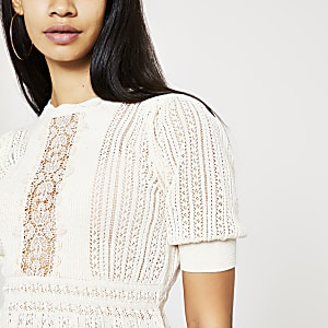 Cream lace peplum knitted top