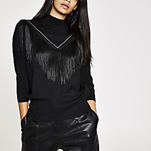Black knitted tassle fringe jumper