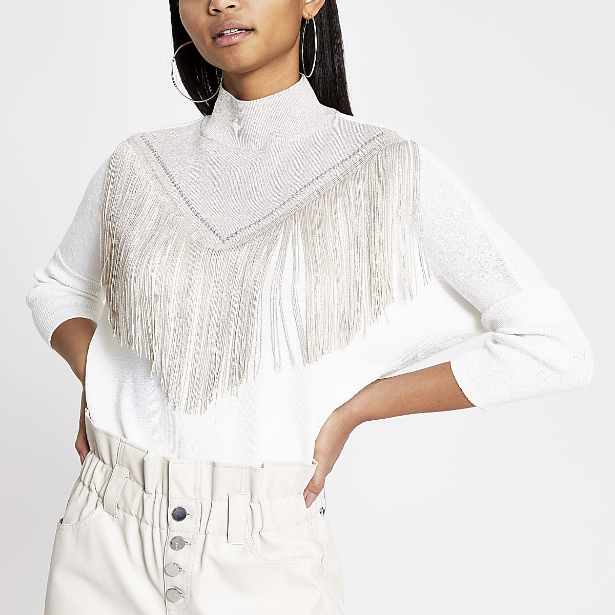 Cream fringe studded high neck jumper