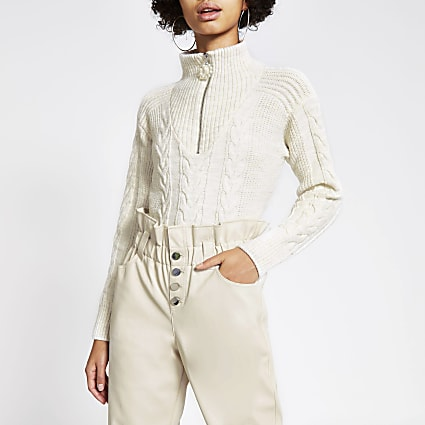 Cream cable knit zip neck jumper