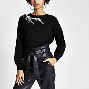 Zwarte gebreide trui met verfraaide hals