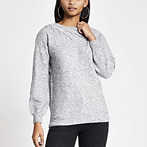 Grey embellished cut out knitted jumper