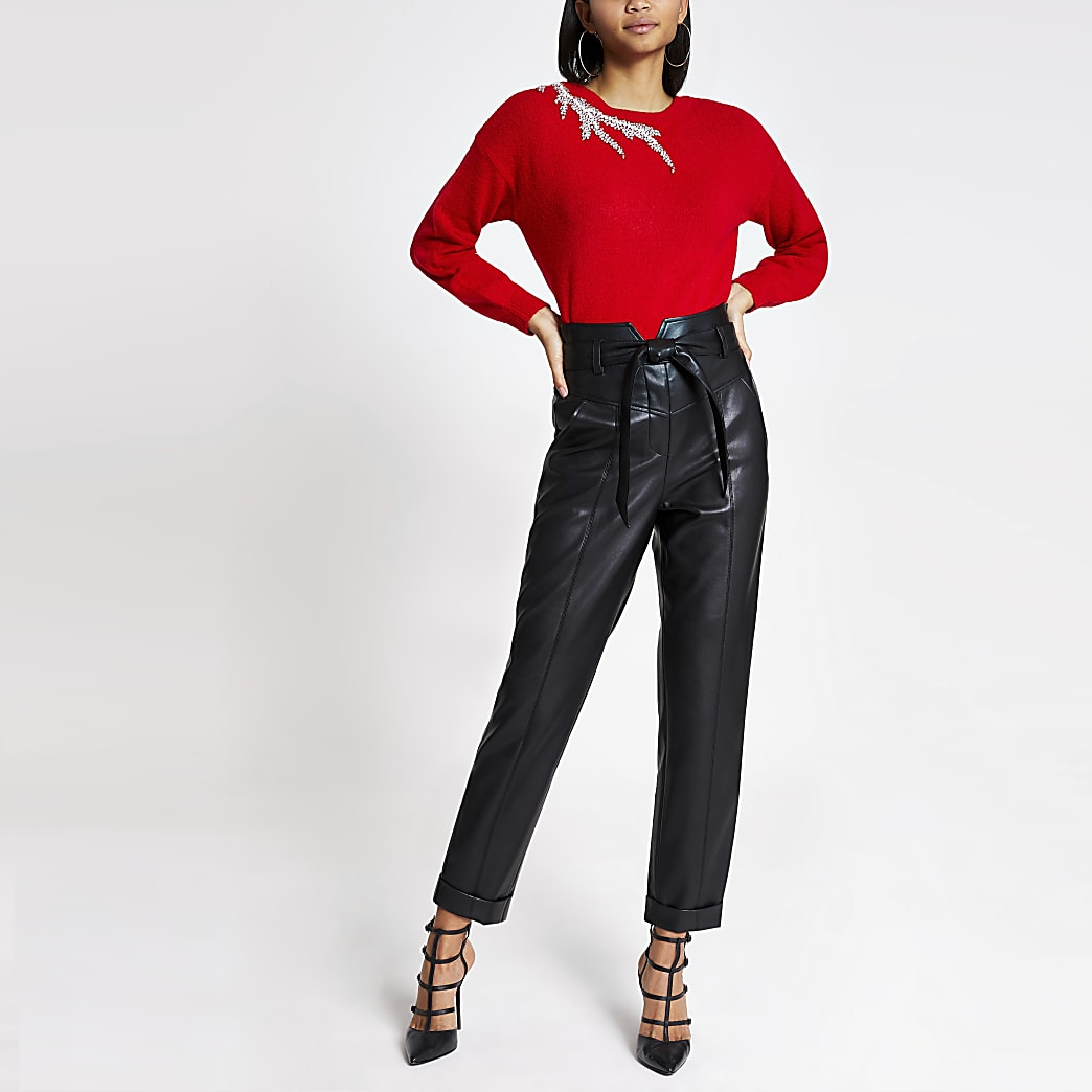 Red embellished cut out knitted jumper