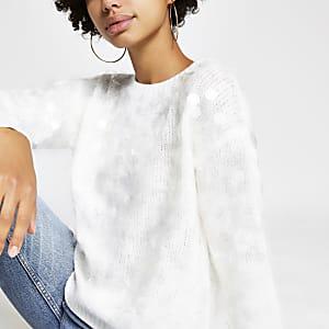 Witte gebreide ruimvallende pullover met lovertjes