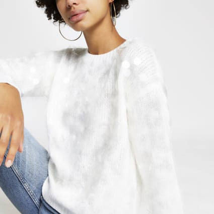 White sequin loose fit knitted jumper