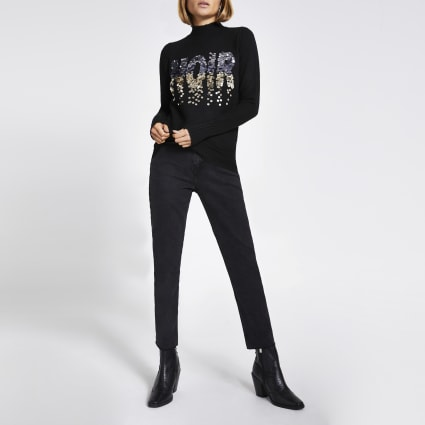 Black 'Noir' sequin high neck knitted jumper