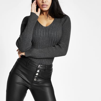 Grey faux leather shoulder ribbed top