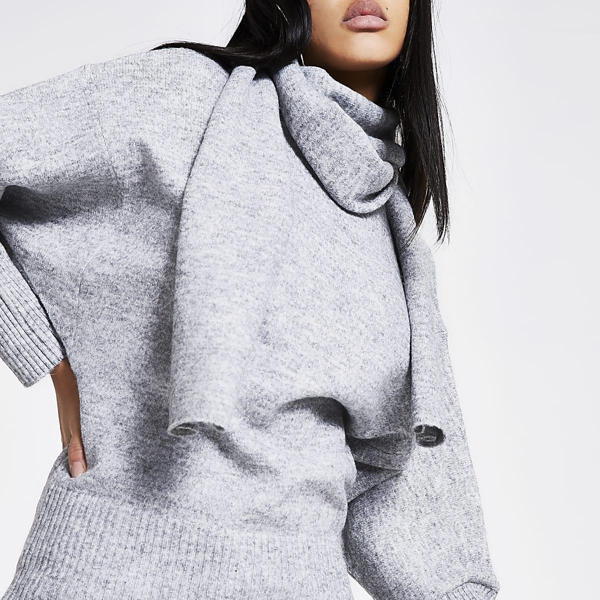 Grey scarf neck long sleeve jumper
