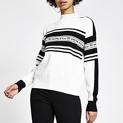 Cream 'MCMLXVIII' embellished jumper