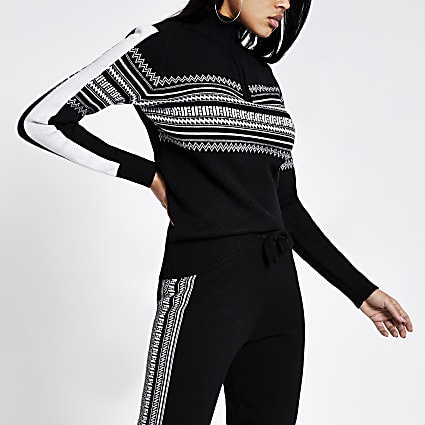 Black fairisle half zip knitted jumper