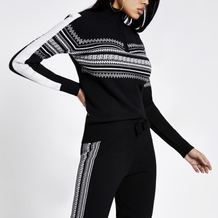 Black fairisle half zip knitted jumper